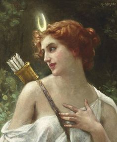 Quiver and bow with moon crown. Guillaume Seignac - Diana the huntress