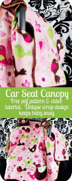 Sewing Projects For Children Free Baby Car Seat Canopy Pattern / Tent / Cover How To ♥ Fleece Fun - I love how this pattern wraps around the outside to keep it from hanging on the baby. Plus there's a video tutorial to walk you through how to make it! Car Seat Canopy Pattern, Car Seat Cover Pattern, Baby Carrier Cover, Easy Baby Blanket, Baby Blankets, Baby Sewing Projects, Diy Projects, Diy Couture, Baby Wraps