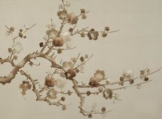 Supremely elegant and beautiful, prunus is painted in an 'unconscious' style. the blossoms are painted and embroidered, the backgrounds a variety of plain