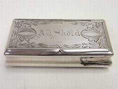 Unusual Dutch silver snuff box with bright cut Decoration. c.1880