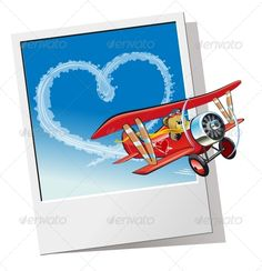 Valentines Card with Cartoon Airplane (Valentines)