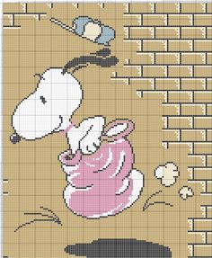 Snoopy doet een zakloop Cross Stitch Boards, Cross Stitch Baby, Plastic Canvas Crafts, Plastic Canvas Patterns, Cross Stitch Designs, Cross Stitch Patterns, Snoopy Nursery, Stitch Cartoon, Quilt Making