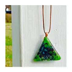 Kiln fused large glass triangle pendant on brown leather by handmadebychloed on Etsy