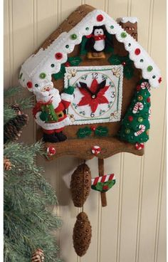 Christmas Time Clock Wall Hanging Felt Applique Kit