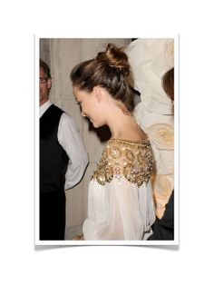 {two lovely things : gold embellishments & a chignon} by {this is glamorous}, via Flickr