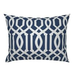 Each pillow sham is made from 100% natural cotton sateen featuring unique designs to bring a pop of pattern and color to your bedroom. Mix-and-match prints to create a special customized space. Made-to-Order in the USA. Classic Pillows, Pillows, Indigo Pillows, Summer Pillows, Navy Blue Pillows, Blue Pillow Shams, White Trellis, Blue And White, Lattice Pillow