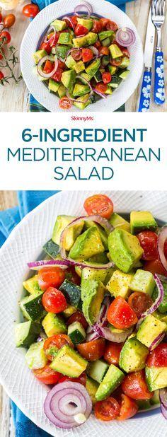 6-Ingredient Mediterranean Salad: I love making this salad on Sundays. It's so good! #salad #cleaneating #mediterrranean #skinnyms