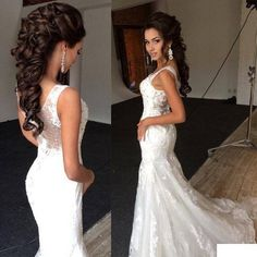 Sexy Deep V Neck Sleeves Mermaid Vestido De Noiva Beading Wedding Dresses Wedding Hairstyles For Long Hair, Wedding Hair And Makeup, Wedding Beauty, Bride Hairstyles, Bridal Hair, Hairstyle Ideas, 2015 Wedding Dresses, Wedding Gowns, 2015 Dresses