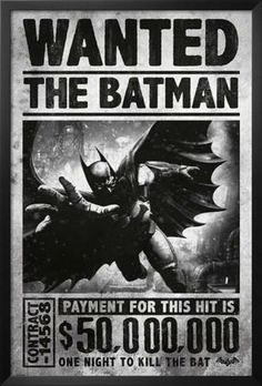 Batman Arkham Origins - Wanted. Framed Poster from AllPosters.com, $84.99