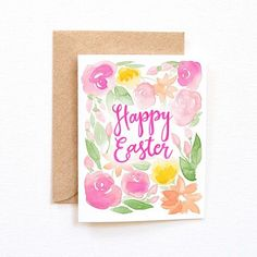 Happy Easter! ✝ #happyeaster #easter #sunday #handpainted #watercolor #handlettered #greetingcard