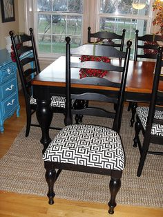 """Love the black and natural table... would do the chair pads in denim for a more """"Me"""" look...."""