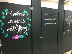 kindness changes everything painted on a bathroom stall School Hallways, School Murals, Art School, School Entrance, School Stuff, School Bathroom, Bathroom Quotes, School Painting, School Quotes