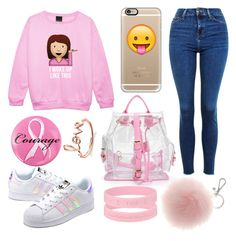 """Pink emoji"" by alexzoefred ❤ liked on Polyvore featuring Casetify, adidas Originals, Topshop, Ashley Stewart and Sydney Evan"