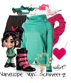 """Vanellope Von Schweetz Inspired Outfit"" by rubytyra on Polyvore"