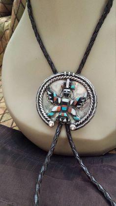 Native American inlaid sterling silver bolo.