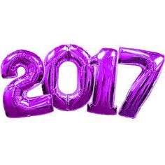 Number 2017 Balloons Purple