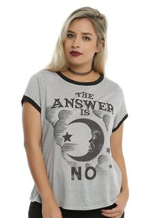 Ouija The Answer Is No Girls Ringer T-Shirt Plus Size, HEATHER GREY