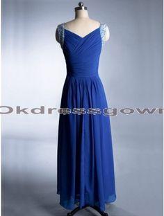 V Neck Off Shoulder Chiffon Elegant Royal Blue prom dress with Spaghetti Straps
