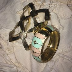 Bracelet and cuff Pastel color blocked bracelet and a gold cuff Jewelry Bracelets