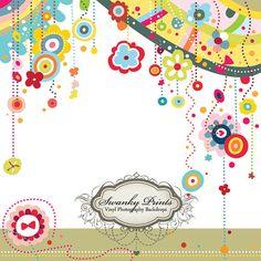 LARGE 5ft x 5ft Vinyl Photography Backdrop / Happy Flower Design / Birthday Background