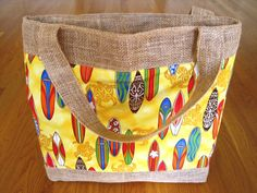 Large Tote Bag Hawaiian Surfboards Longboards Gold Sea Turtles Honu COTTON, Beige BURLAP, Beach Birthday gift Surfer Sports Picnic Men Women ~ Available on www.MaliakeiBags.com