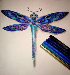 Johanna Basford Enchanted Forest Floresta Encantada Dragonfly Libélula ♥≻★≺♥LoVe ~ it's Beautiful ! Johanna Basford Enchanted Forest, Enchanted Forest Coloring Book, Dragonfly Tattoo Design, Tattoo Designs, Watercolor Dragonfly Tattoo, Dragonfly Drawing, Tattoo Ideas, Coloring Books, Coloring Pages