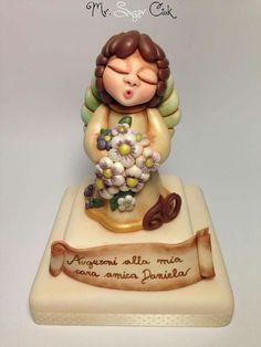 Thun First Communion Cakes, Angel Cake, Amazing Cakes, Sweets, Homemade, Ceramics, Cake Ideas, Creative, Desserts