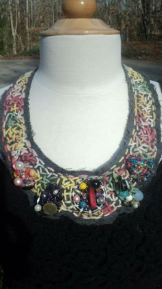 """""""Color Explosion"""" Handmade Necklace---$18 All of the pieces attached are wire wrapped, handmade pieces---they add uniqueness to the piece!"""