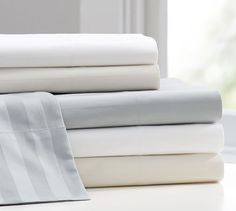 Jacquard Stripe 350-Thread-Count Sheet Set | Pottery Barn