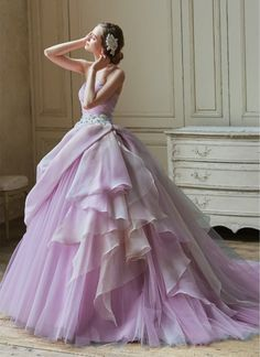 for the bride who loves color Ball Gowns Prom, Prom Dresses, Formal Dresses, Wedding Dresses, Purple Evening Gowns, Unconventional Wedding Dress, Playing Dress Up, Bridal Style, Designer Dresses