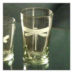 Etched Dragonfly Glassware -- HAVE