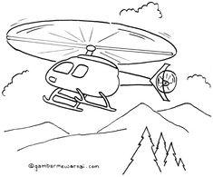 Gambar Mewarnai Helikopter