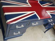 CUSTOM ORDER ... British Union jack DESK by Cedarappledesigns