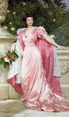 Constance, Duchess of Westminster strikes a spectacular pose in this portrait of her wearing a dress with leg-o-mutton sleeves