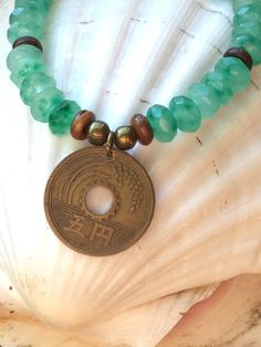 Green Jade Stretch Bracelet With Coin by HumbleMySoul on Etsy https://www.etsy.com/listing/257453153/green-jade-stretch-bracelet-with-coin