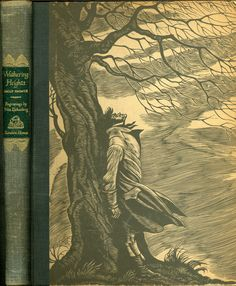 "1943 Edition of the Classic published by Random House of ""WUTHERING HEIGHTS"" by Emily Bronte. Illustrated with Wood Engravings by Fritz Eichenberg. Emily Bronte, Charlotte Bronte, I Love Books, Great Books, My Books, Nerd, Wuthering Heights, Beautiful Book Covers, Jane Eyre"