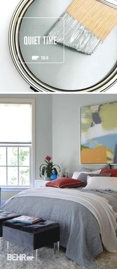 The easiest step in any DIY home makeover project is a fresh coat of paint. If you're searching for the perfect palette for your home, look no further than the newest BEHR Color of the Month: Quiet Time. This neutral gray hue brings a soothing and relaxed style into this master bedroom. #KitchenRemodeling