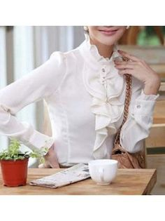 Korean Style White Long Sleeve Flouncing Neck Blouse White Long Sleeve, Korean Fashion, Cool Style, Korean Style, Ruffle Blouse, Chic, Fitness, Cheap Wholesale, Mens Tops