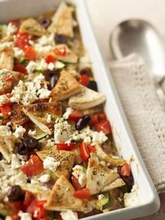Greek Chicken and Pita Casserole: So so so so so good and pretty easy to make. It combines all my favorite foods.