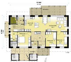 Kivisydän A pohja One Bed, House Plans, Floor Plans, Cottage, Koti, Cabin, Flooring, How To Plan, Mansions