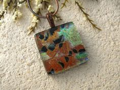 Copper Necklace Green Gold Dichroic Jewelry Fused by ccvalenzo