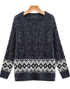 Navy Long Sleeve Geometric Pattern Cable Knit Sweater pictures
