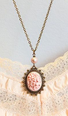 Pink Cameo Necklace Cameo Pendant Baby Pink by JacarandaDesigns