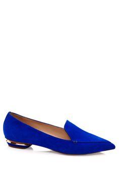 Shop Blue Suede Pointy Slipper by Nicholas Kirkwood for Preorder on Moda Operandi