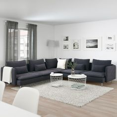 IKEA - SÖDERHAMN, Corner sofa, Samsta dark grey, SÖDERHAMN seating series allows you to sit deeply, low and softly with the loose back cushions for extra support. Living Room Grey, Home Living Room, Living Room Designs, Living Room Decor, Charcoal Sofa Living Room, Grey Room, Söderhamn Sofa, Sectional Sofas, Fabric Sectional