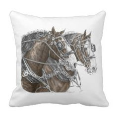 Clydesdale Draft Horse Team Pillows