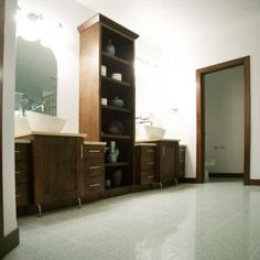 custom cabinetry; bathroom cabinets; double vanity; vanities; storage tower; linen cabinets; bowl sinks; spa; master bath; contemporary