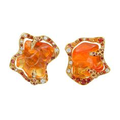 """Dorota Fire Opal """"Flame"""" Earrings with diamonds and multi-color sapphires in 18k yellow gold (=)"""