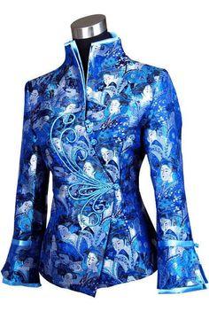 Charming Chinese Women'S Silk Jacket /Coat Blue Sz:8 10 12 14 16