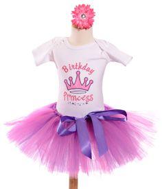 Pink Princess Birthday Girls Tutu Outfit